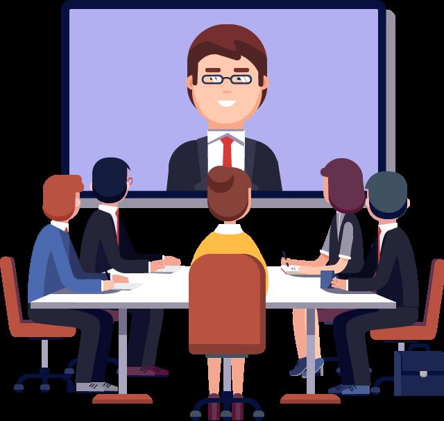Cartoon of video call in meeting