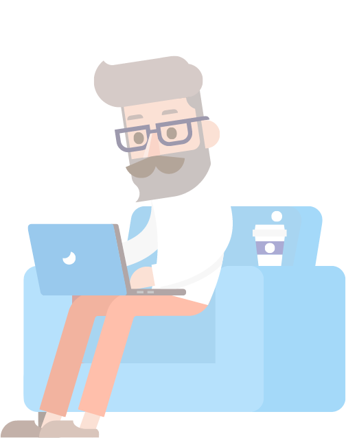 cartoon man working on laptop